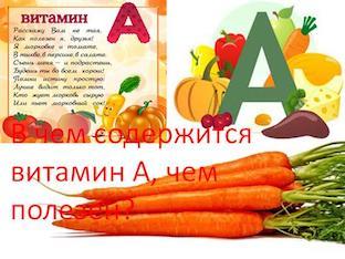 В чем содержится витамин А, чем полезен